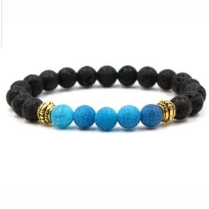 BLUE & BLACK LAVA STONE BEADED BRACELET